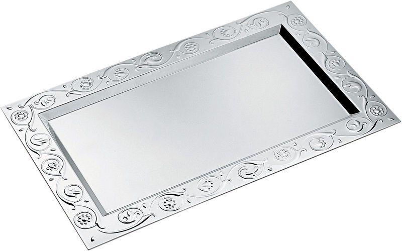 Alessi Floral Silver Rectangular Tray Model Cod Ap01 22 5